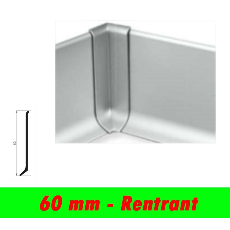 Profil finition - Angle rentrant PLINTHE alu anodisé mat - 60mm