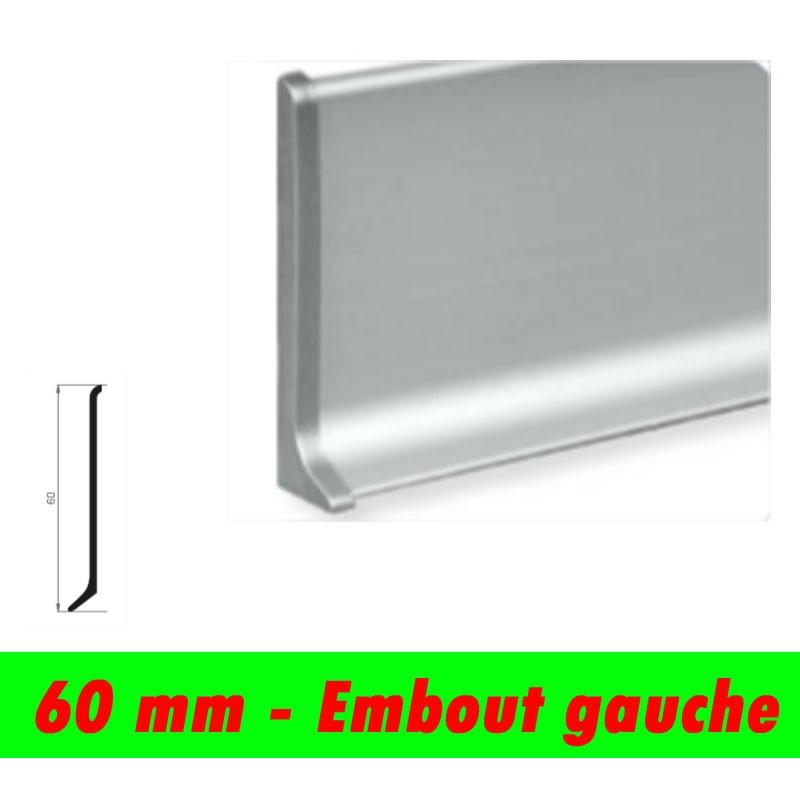 Profil finition - Embout Gauche PLINTHE alu anodisé mat - 60mm