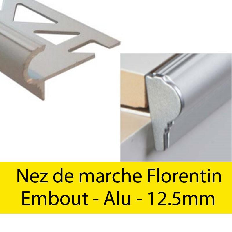 Profil finition - Embout droit Florentin - Bouchon Alu 12.5mm