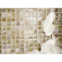 Mosaique de verre dorée beige 32x32