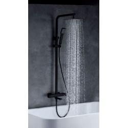 Barre de douche noir mat avec sortie baignoire